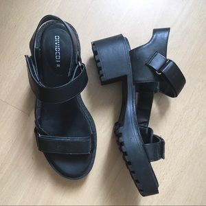 Chunky Black Faux Leather Sandals